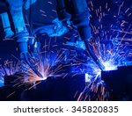robot welding movement... | Shutterstock . vector #345820835