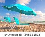 beach umbrellas and lounge...   Shutterstock . vector #345831515