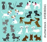 Stock vector cats and dogs 345838361