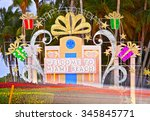 miami beach welcome sign in... | Shutterstock . vector #345845771
