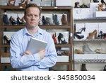 businessman running online shoe ... | Shutterstock . vector #345850034
