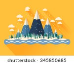 winter landscape with mountains.... | Shutterstock .eps vector #345850685