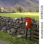 Red British Post Box By A Dry...