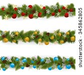 vector christmas borders set 4 | Shutterstock .eps vector #345862805