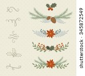 winter hand drawn plant borders ... | Shutterstock .eps vector #345872549