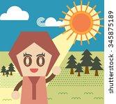 the girl in the garden. | Shutterstock .eps vector #345875189