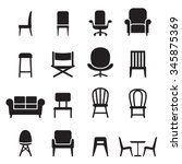 Chair   Seating Icons Set...