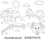 rural landscape with barn ... | Shutterstock .eps vector #345875474