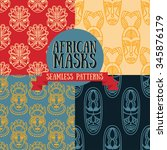 set of seamless patterns with... | Shutterstock .eps vector #345876179