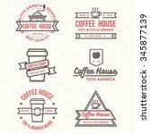 vintage coffee shop labels ... | Shutterstock .eps vector #345877139