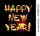 happy new year text painted by... | Shutterstock . vector #345887447