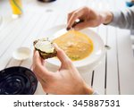 restaurant  couple and holiday... | Shutterstock . vector #345887531