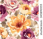 vector pattern with flowers and ... | Shutterstock .eps vector #345890555