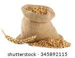 wheat grain in small burlap... | Shutterstock . vector #345892115