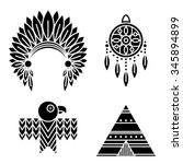 native american indians icons... | Shutterstock .eps vector #345894899