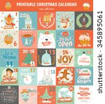 printable advent calendar in... | Shutterstock .eps vector #345895061