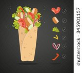 mexican or arabic fast food for ... | Shutterstock .eps vector #345901157