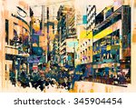 abstract art of cityscape... | Shutterstock . vector #345904454