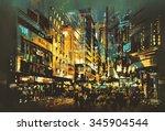 Night Scene Cityscape Abstract...