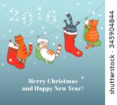 merry christmas card with... | Shutterstock .eps vector #345904844