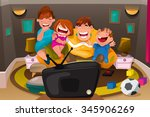 a vector illustration of happy... | Shutterstock .eps vector #345906269