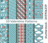 set of ten valentine patterns | Shutterstock .eps vector #345906359