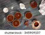 chocolate tarts with salted...   Shutterstock . vector #345909107