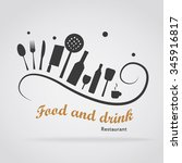 logo food with utensils on a... | Shutterstock .eps vector #345916817