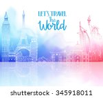 travel the world hand drawing... | Shutterstock .eps vector #345918011