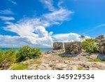 mayan ruins of tulum. tulum... | Shutterstock . vector #345929534