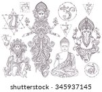 set hindu gods ganesh  hanuman  ... | Shutterstock .eps vector #345937145