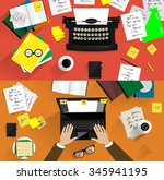 Vector illustrations of retro and modern typewriters. Concepts of writing, copy writing, screen writing, business, office work, freelance  | Shutterstock vector #345941195