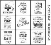 set of vintage fishing... | Shutterstock .eps vector #345942149