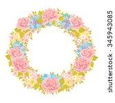 vector flower wreath....   Shutterstock .eps vector #345943085