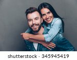 happy to be together. handsome... | Shutterstock . vector #345945419