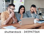 oh no  three frustrated young... | Shutterstock . vector #345947564