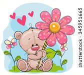greeting card bear with flower... | Shutterstock .eps vector #345951665