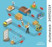 transport logistics isometric... | Shutterstock . vector #345952319