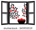 vector bowl of apples in the... | Shutterstock .eps vector #345953519