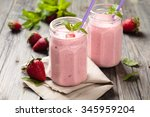 fruit smoothie with mint leaves ... | Shutterstock . vector #345959204