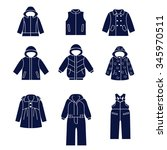 icon set of types of winter... | Shutterstock .eps vector #345970511