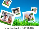 pictures of a happy family... | Shutterstock . vector #34598107