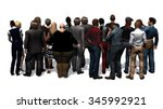 a crowd of people rear view on... | Shutterstock . vector #345992921