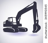 excavator isolated. vector icon.... | Shutterstock .eps vector #345993545