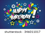 happy birthday greeting card on ... | Shutterstock .eps vector #346011017