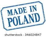 poland   made in blue vintage... | Shutterstock .eps vector #346024847