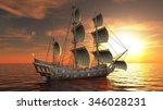 3d illustration of a sailing... | Shutterstock . vector #346028231
