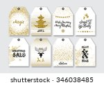 christmas  new year gift tags... | Shutterstock .eps vector #346038485