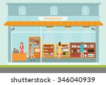 supermarket building and... | Shutterstock .eps vector #346040939