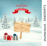 winter christmas landscape with ... | Shutterstock .eps vector #346050971